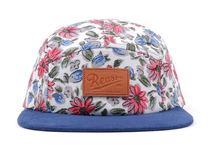 Custom floral 5 panel hat with embossed patch logo