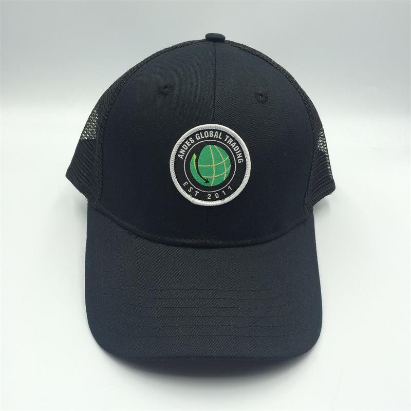 6 panel trucker cap with woven patch logo