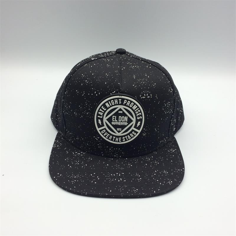 Custom 5 panel snapback cap with rubber patch design
