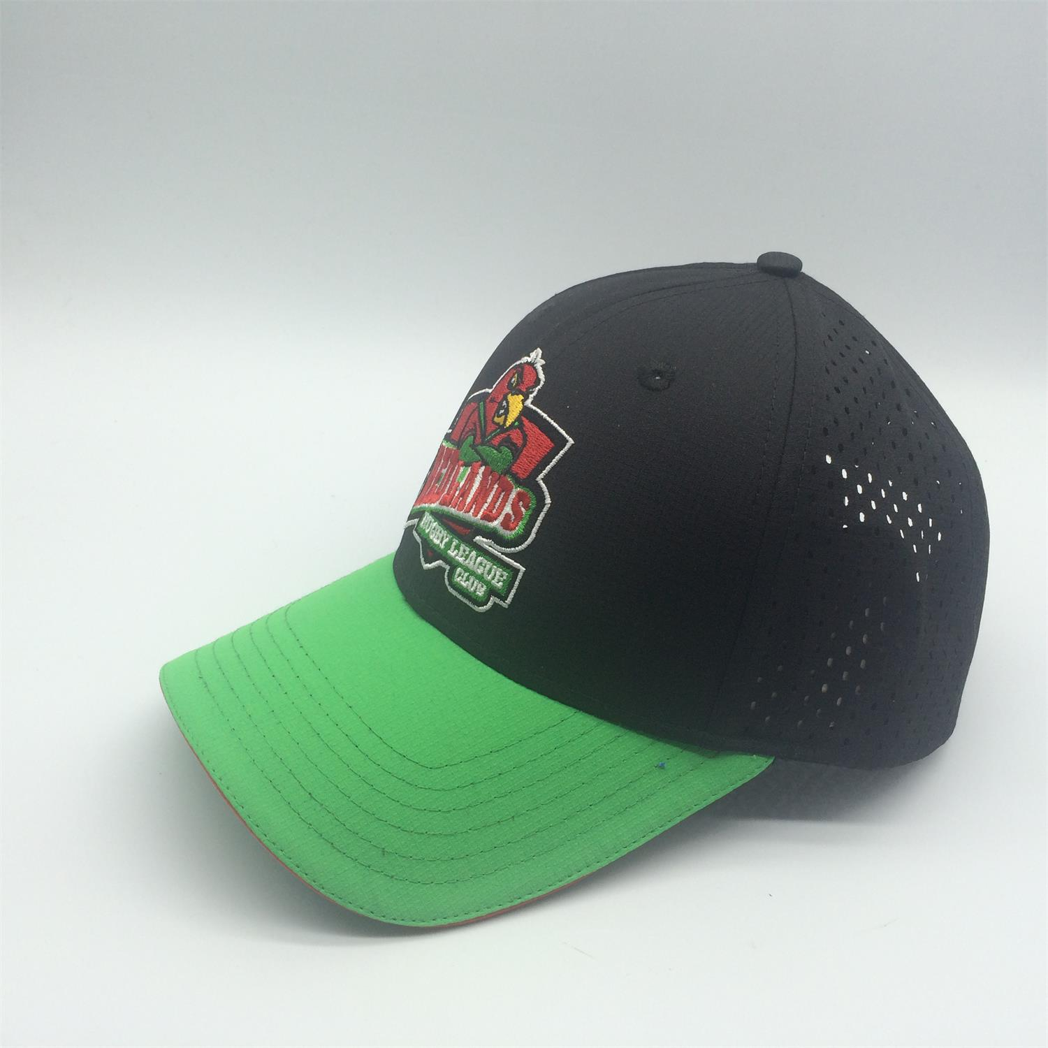 ripstop baseball cap embroidery logo back panels laser holes